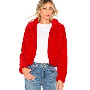 Faux Fur Crop Jacket RED xs BLANKNYC